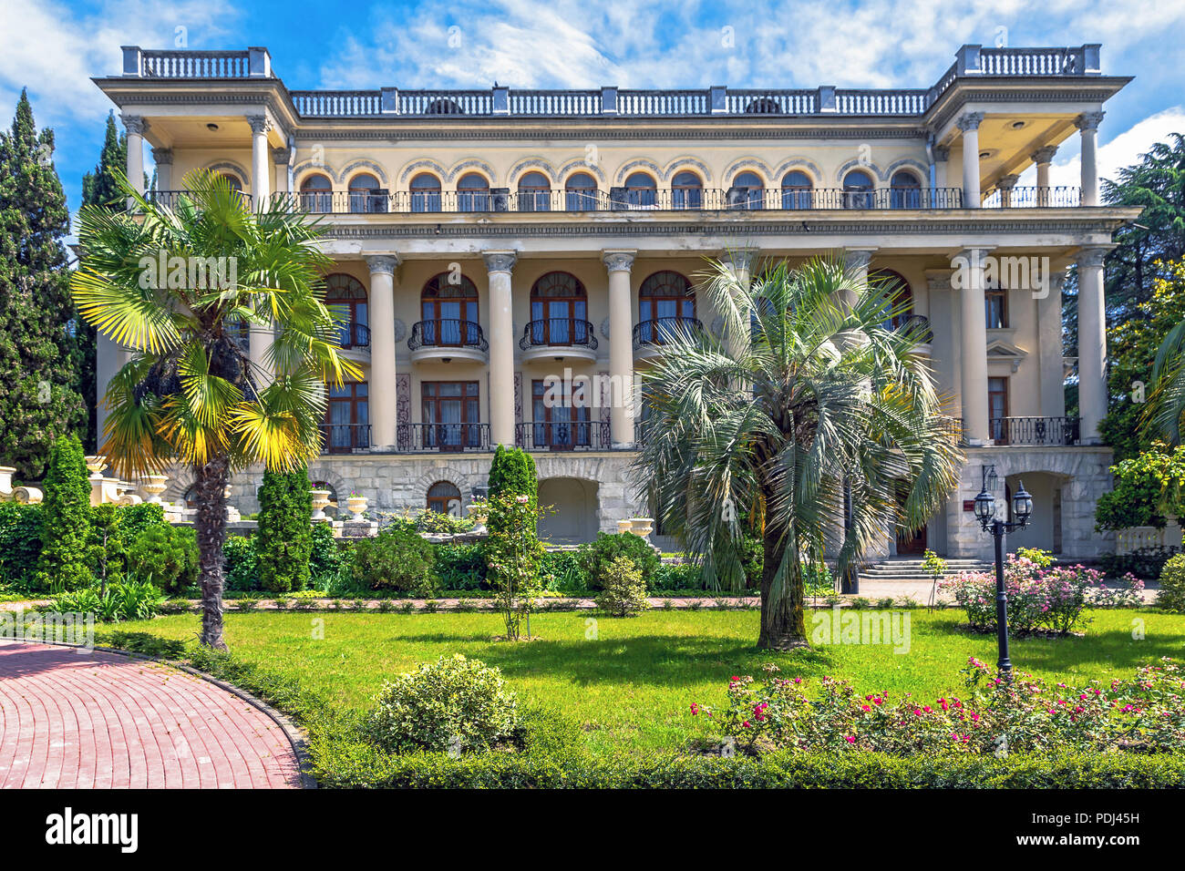 Sanatorium named after Dzerzhinsky FSB is in the center of Sochi. This magnificent, one of the oldest in Russia sanatorium is located in a picturesque - Stock Image