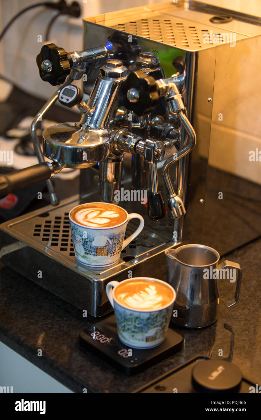 Latte art coffee - Stock Image
