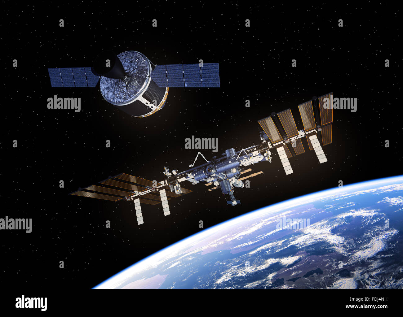 Cargo Spaceship Is Preparing To Dock With Space Station. 3D Illustration. - Stock Image