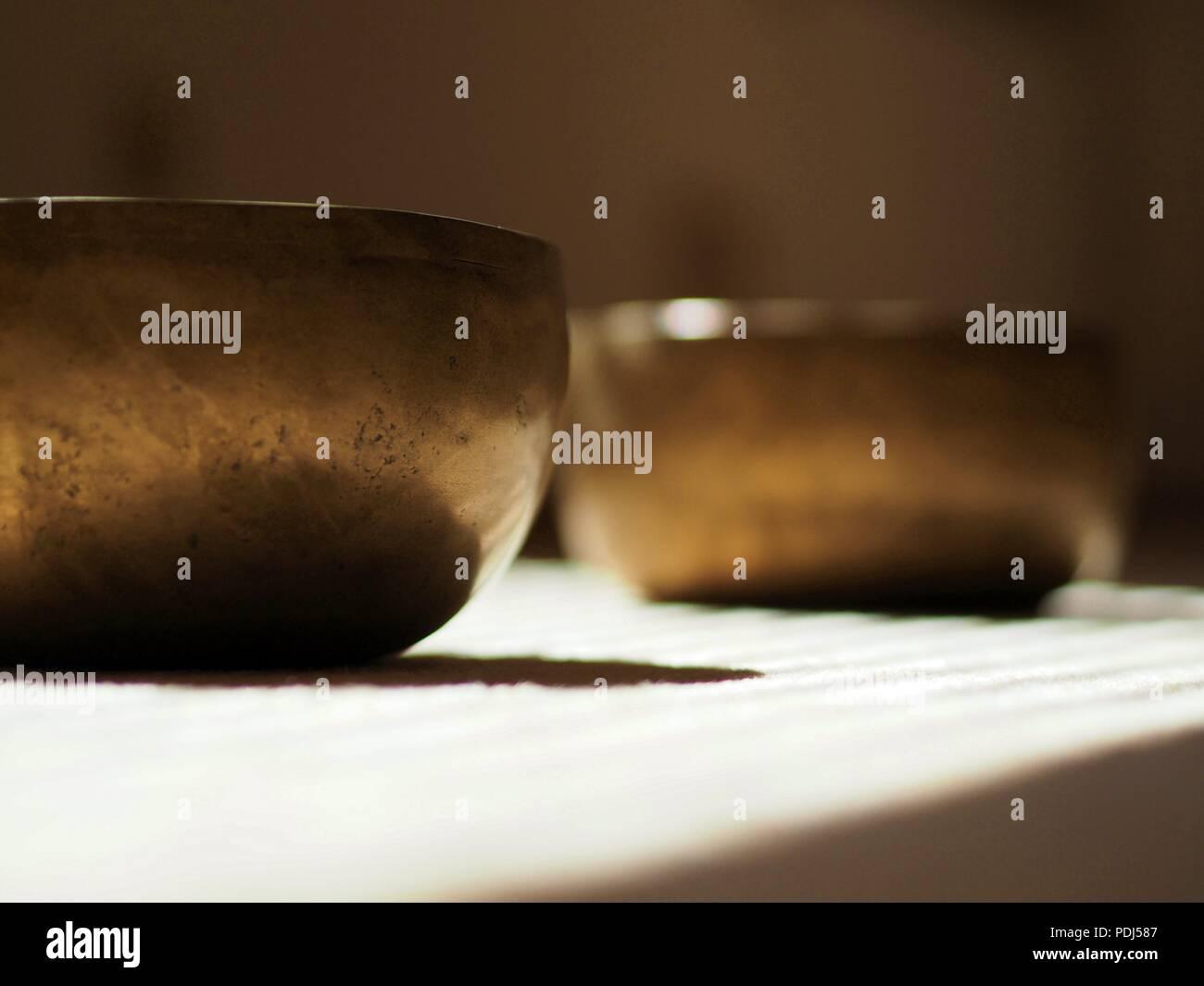 Singing bowls, close up, for mediatation or sound massage - Stock Image