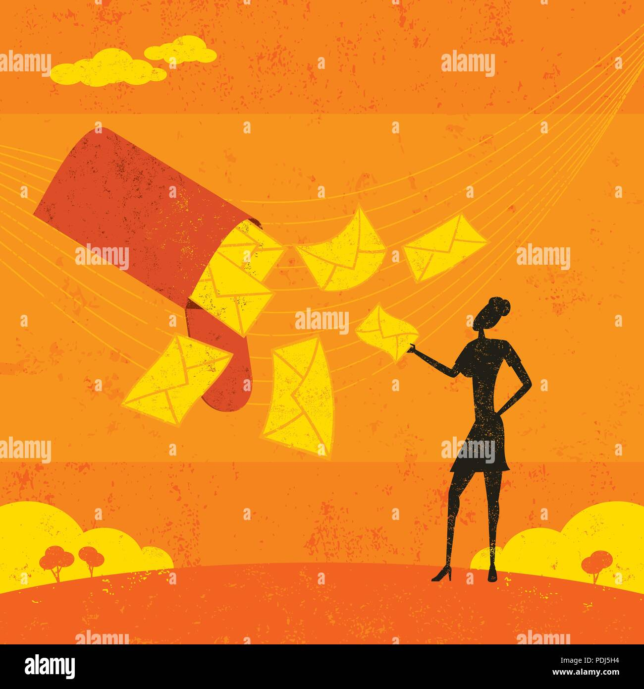 New Emails. A businesswoman receiving a lot of email. - Stock Vector