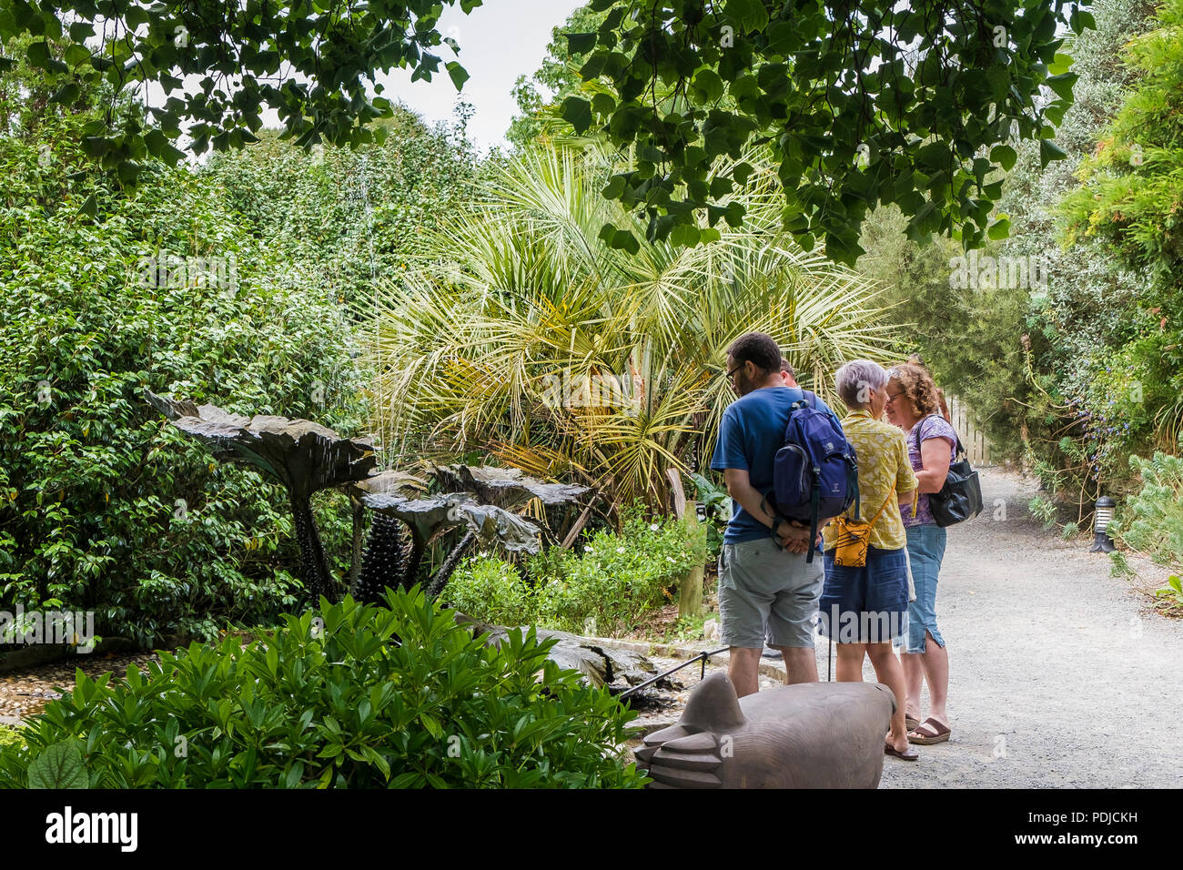 Visitors enjoying their visit to Trebah Garden in Cornwall. - Stock Image