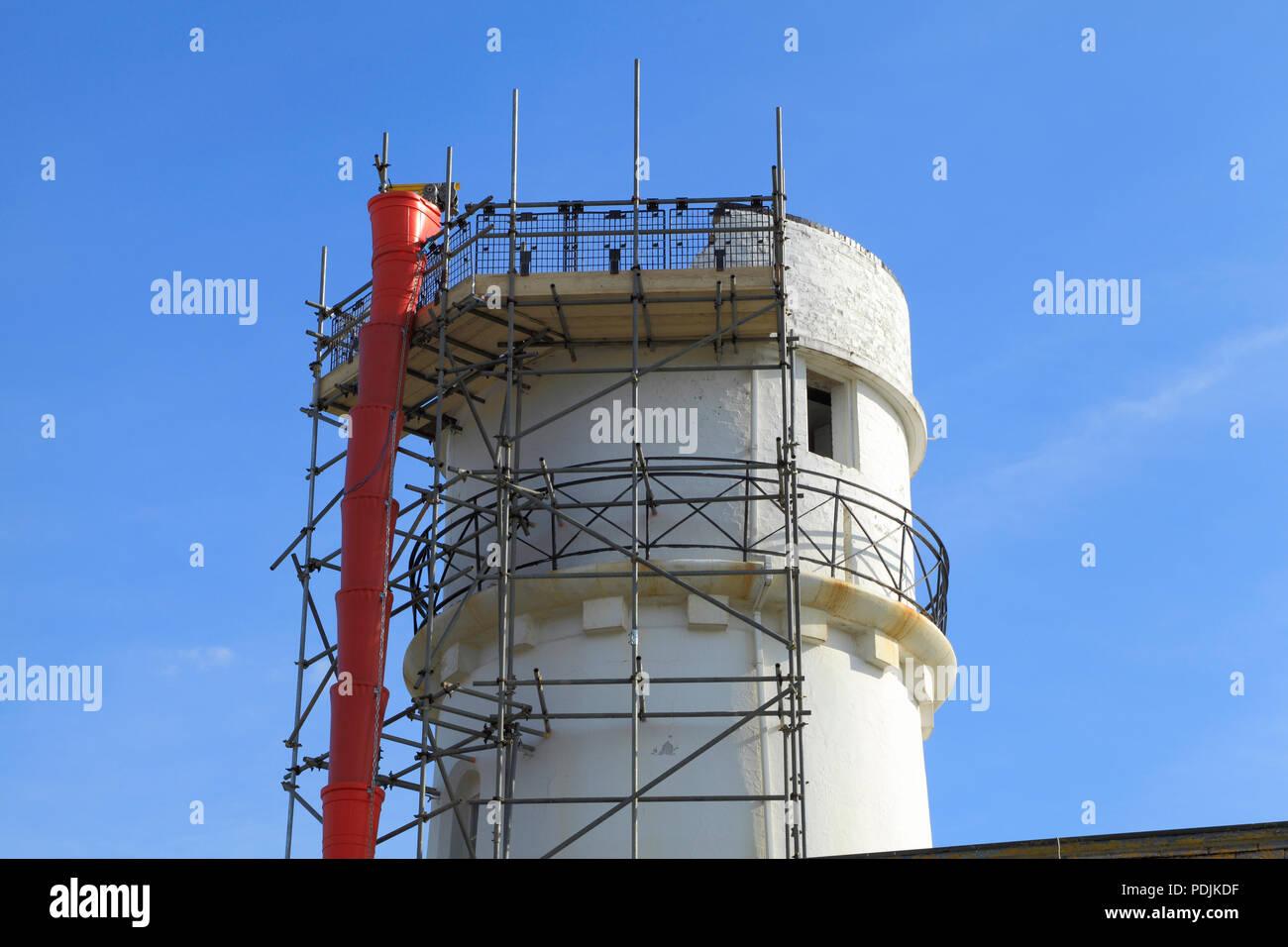 Lightning Strike, Hunstanton Lighthouse, structural repair,  parapet, July 2018, storm damage - Stock Image