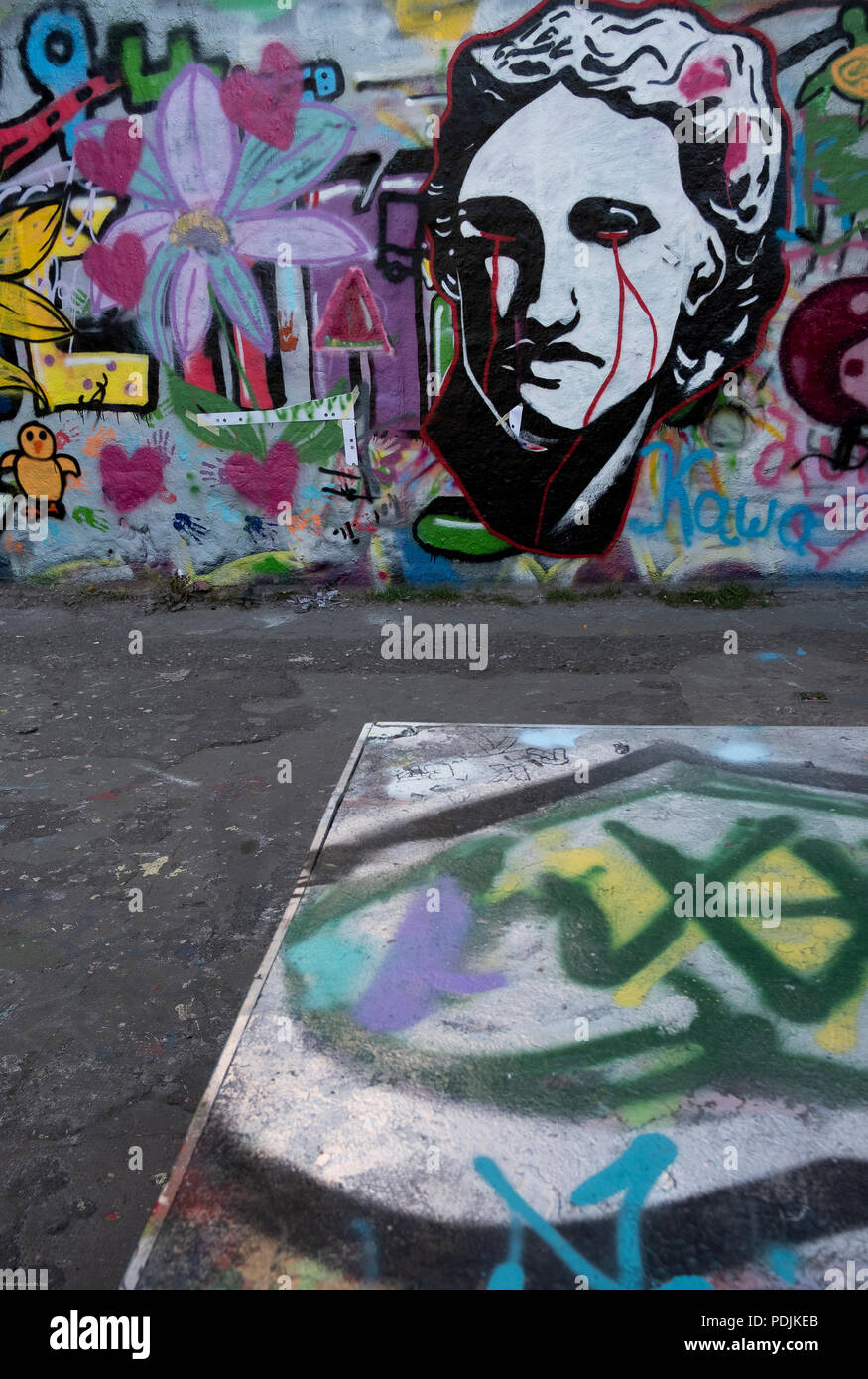 Graffiti in a Cologne outdoor space, Germany - Stock Image