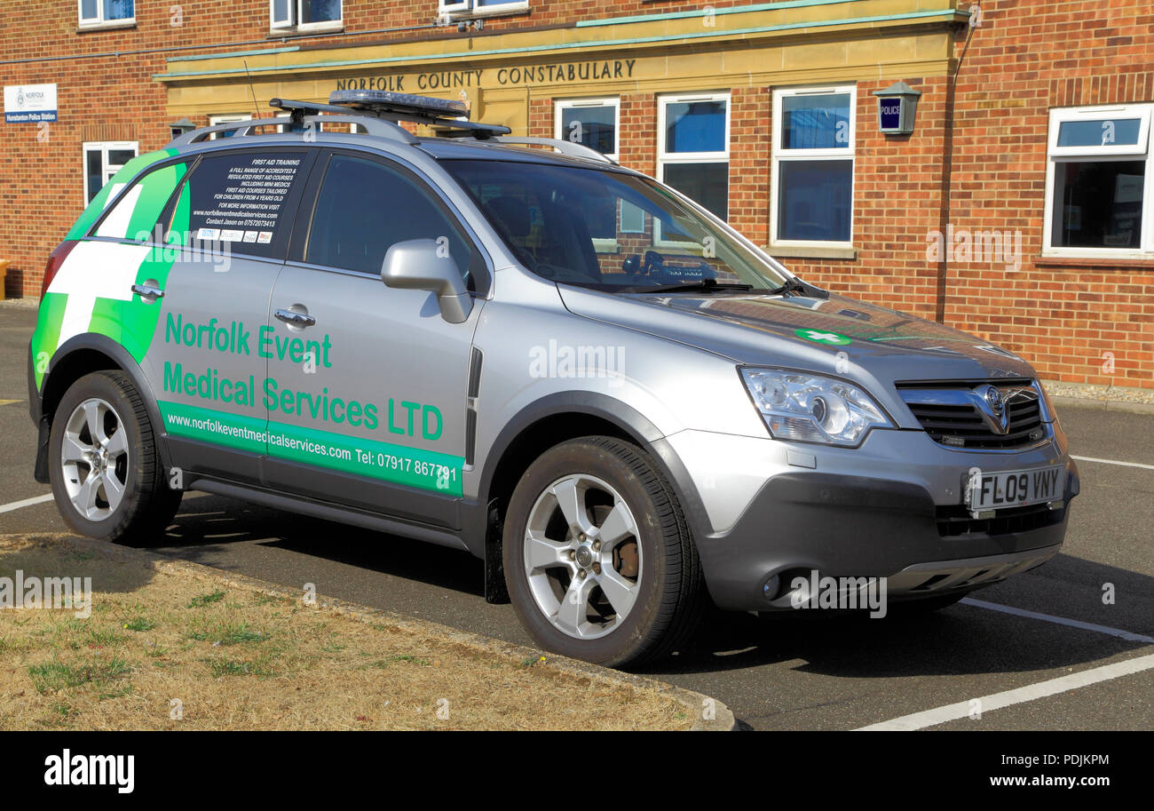 Norfolk Event, Medical Services, vehicle, emergency, service, Hunstanton, UK - Stock Image