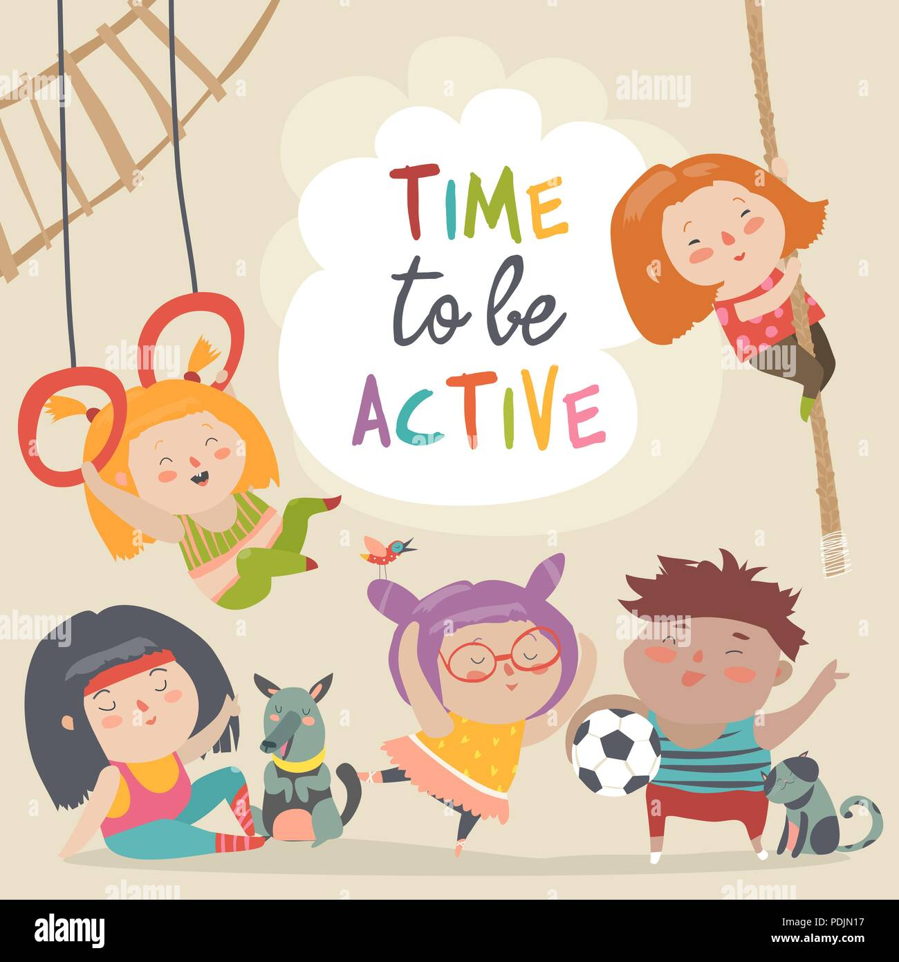 Happy kids and sport. Time to be active - Stock Vector