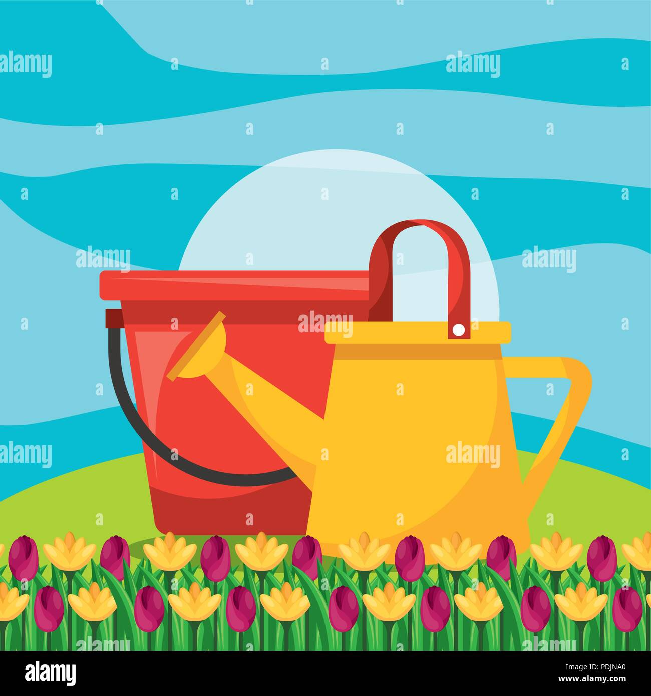 watering can with bucket and flower garden - Stock Image