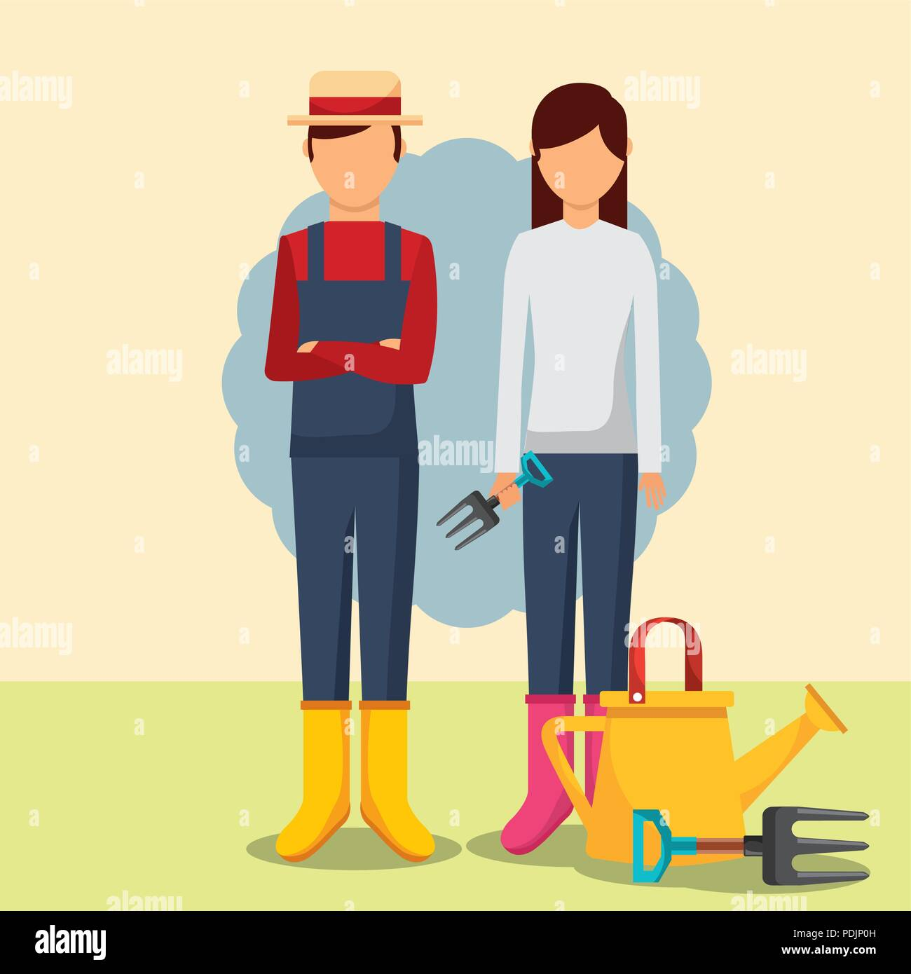 gardeners man and woman with watering can and forks - Stock Vector