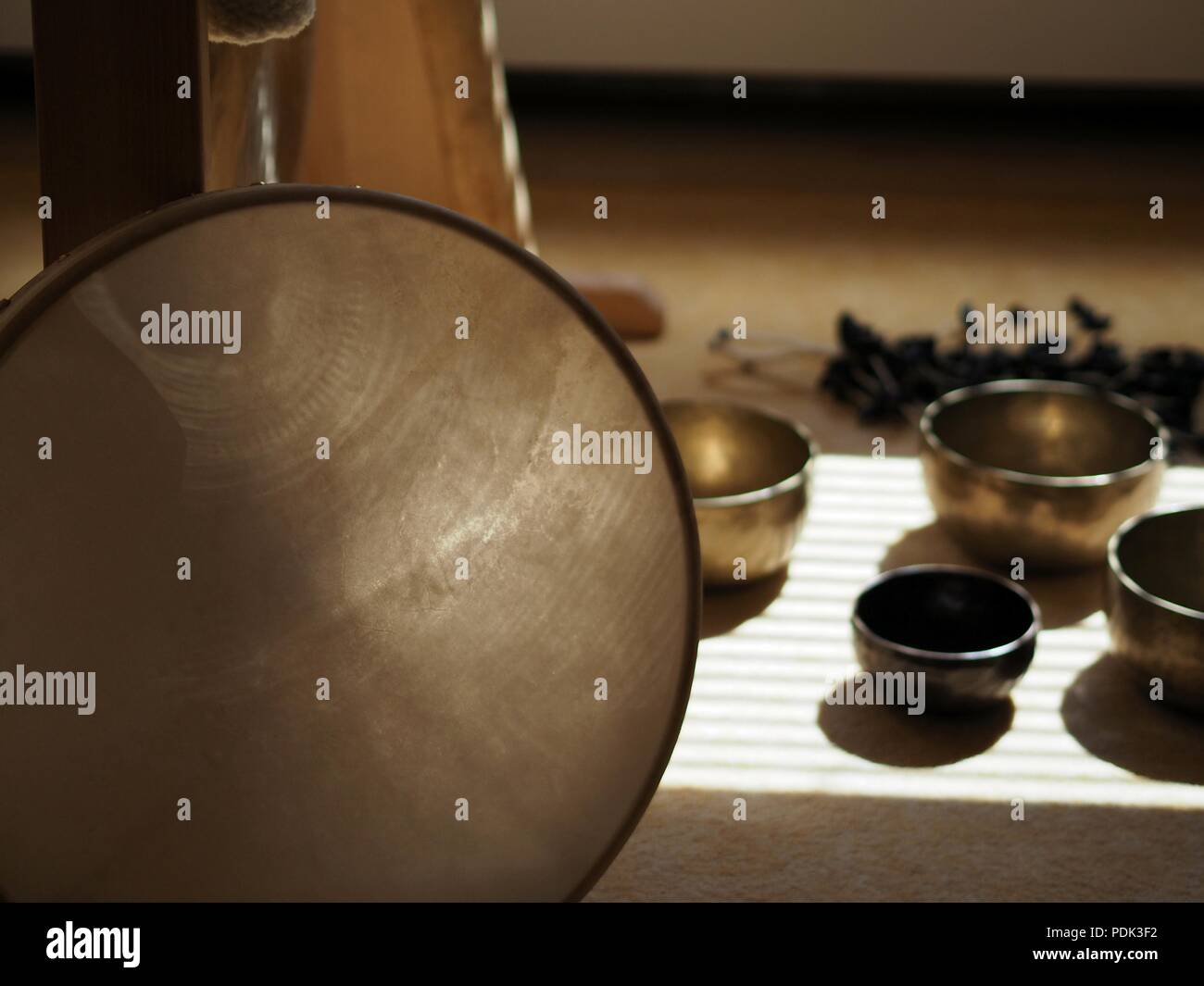 Sound healing instruments - Stock Image