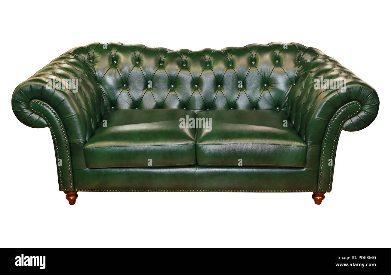 Green leather sofa isolated included clipping path stock image
