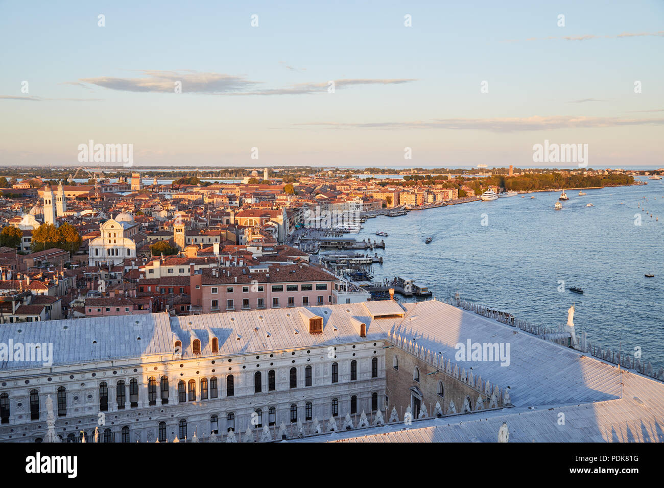 Aerial view of Venice before sunset with coast and rooftops, Italy - Stock Image
