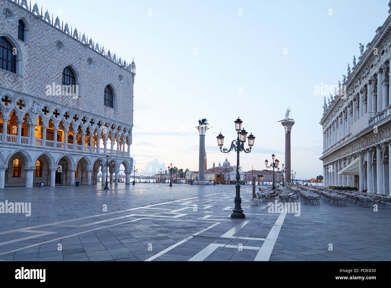 San Marco square, nobody in the early morning in Venice, Italy - Stock Image