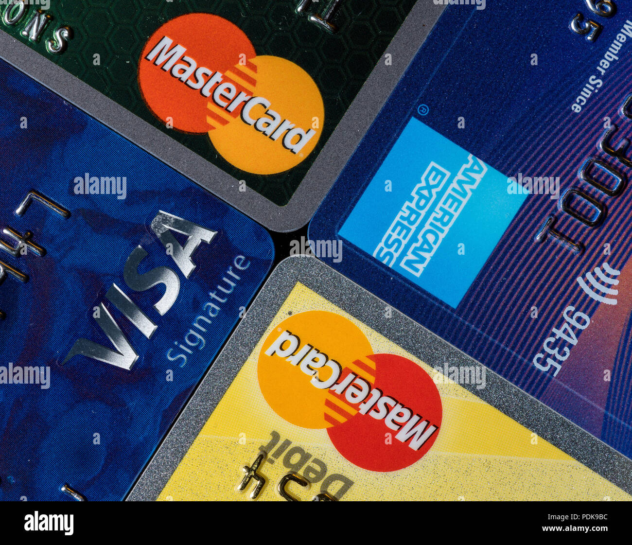 Close up of credit card issuer brands and logos - Stock Image