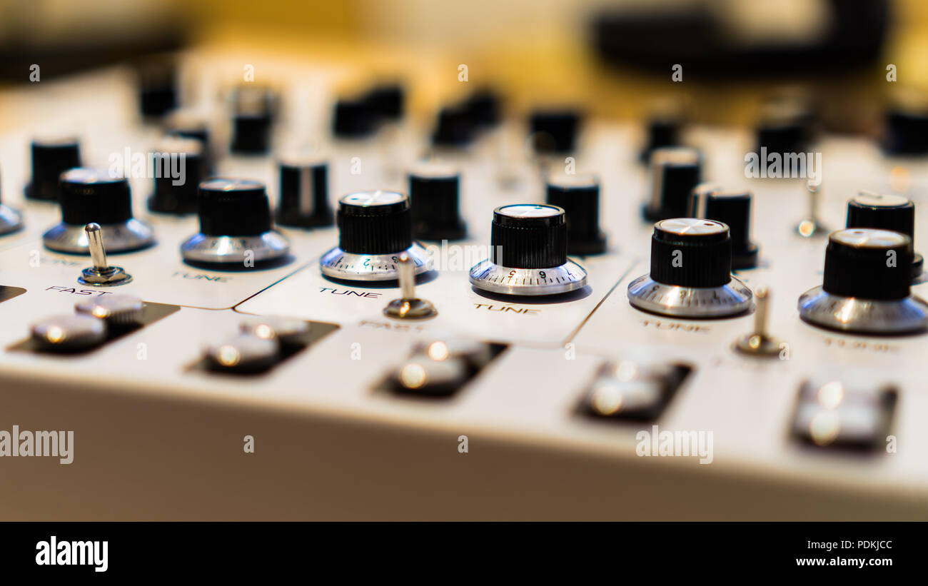 Museum of Modern Art exhibition of Synthesizers, this is a close up of one of the synths on display to start creating with - Stock Image