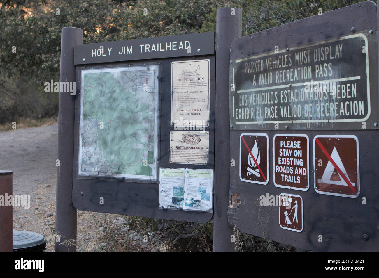 Holy Jim trailhead sign in the Cleveland national forest Orange County California prior to the Holy Fire of August 2018 - Stock Image