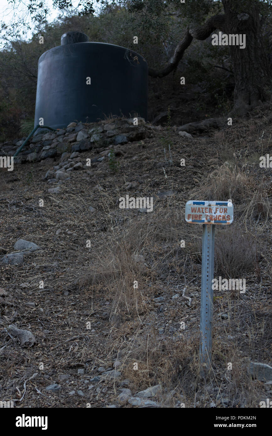 Water container on Holy Jim trail in the Cleveland national forest Orange County California prior to the Holy Fire of August 2018 - Stock Image