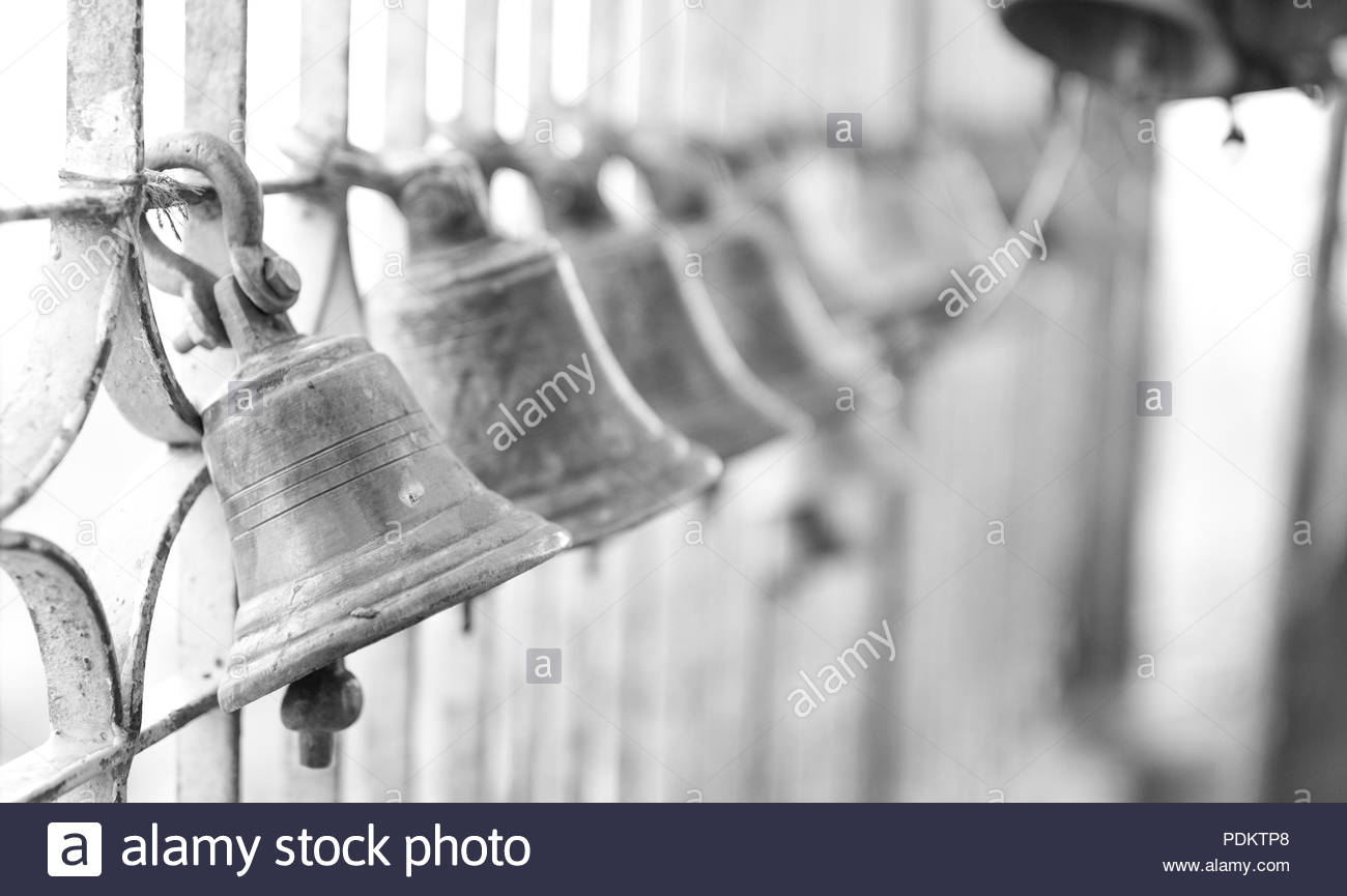 Bell hanging in hindu lord temple - Stock Image