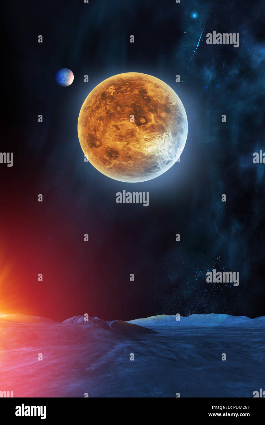 Celestial digital art, Venus planet in sky from neighbor planet view, stars and galaxies in outer space showing the beauty of space exploration. Plane - Stock Image