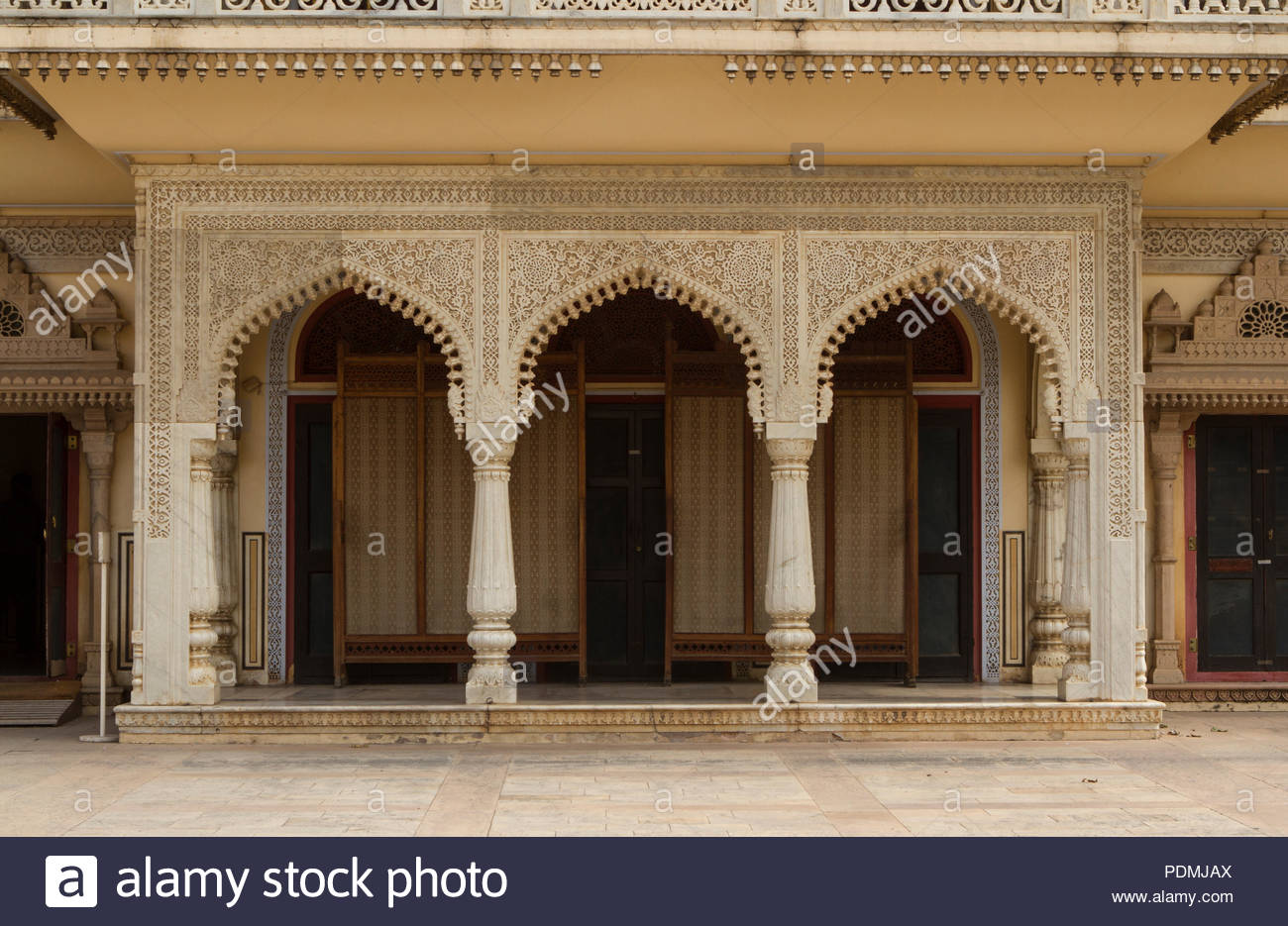 This complex was the seat of the Maharaja of Jaipur, the head of the Kachwaha Rajput clan. The Chandra Mahal palace now houses a museum but the greate - Stock Image