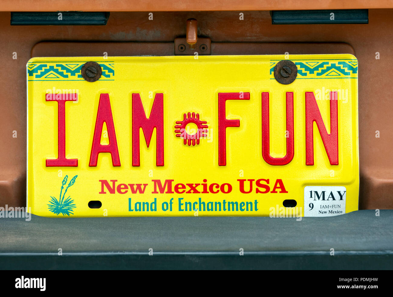 New Mexico state license plate reads ' I AM FUN' - Stock Image