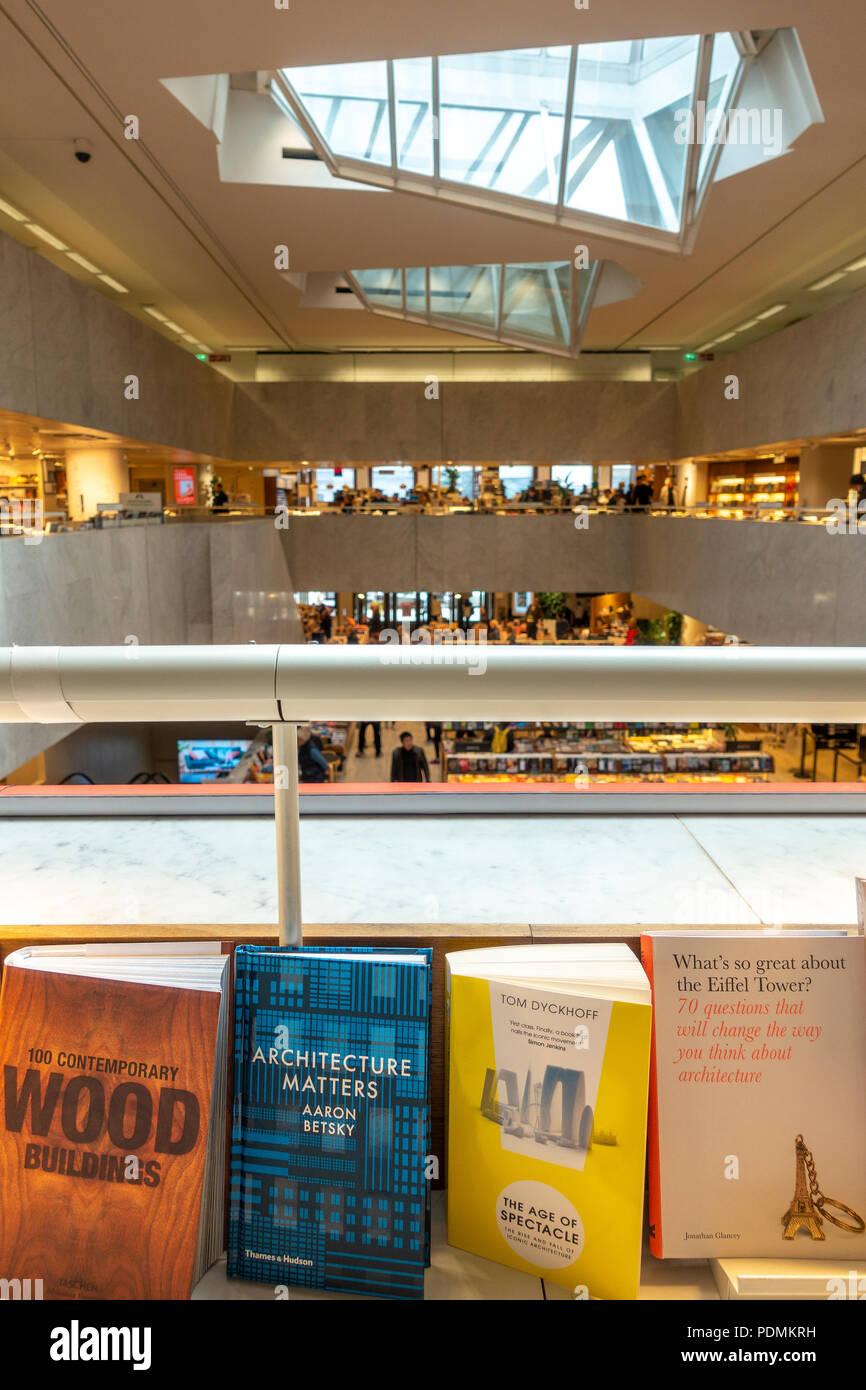 Books on Architecture on display in the Helsinki Academic Bookstore, Akateeminen Kirjakauppa, a building by Alvar Aalto. - Stock Image