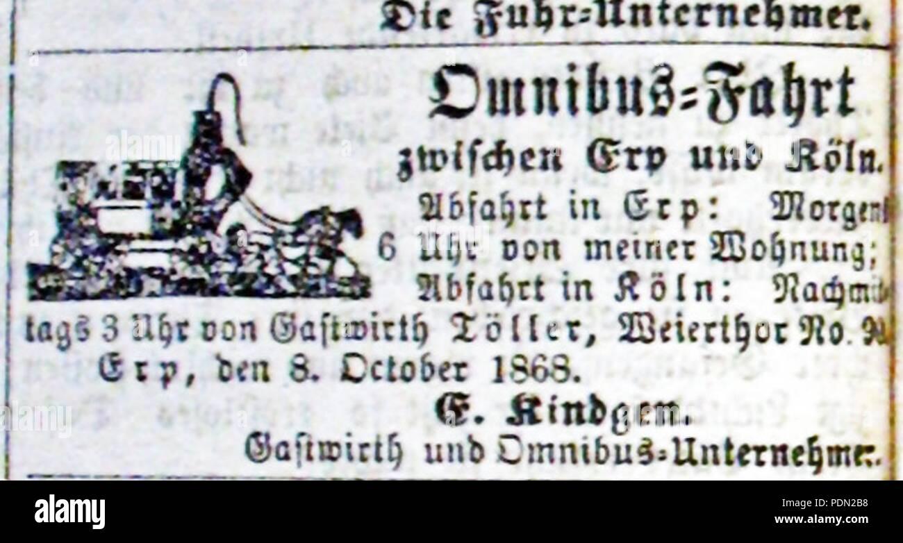 Annonce-Personenbeförderung-Erp-Köln-1868. - Stock Image