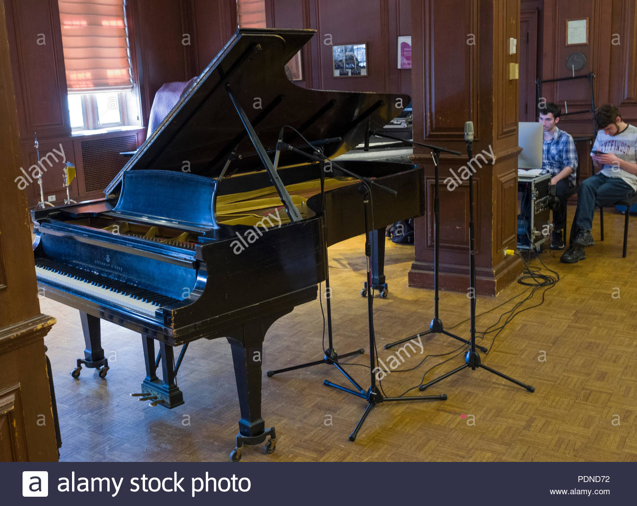 Microphones set to record performance on Grand Piano in recital hall, Alden Memorial auditorium, Worcester Polytechnic Institute, Worcester, Massachus - Stock Image