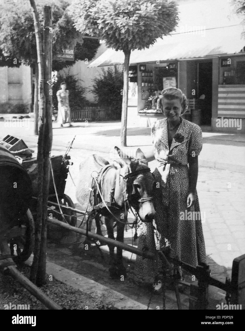 3 Coach, donkey, portrait, woman, street view, scale, barrel, chariot, shop Fortepan 14375 Stock Photo