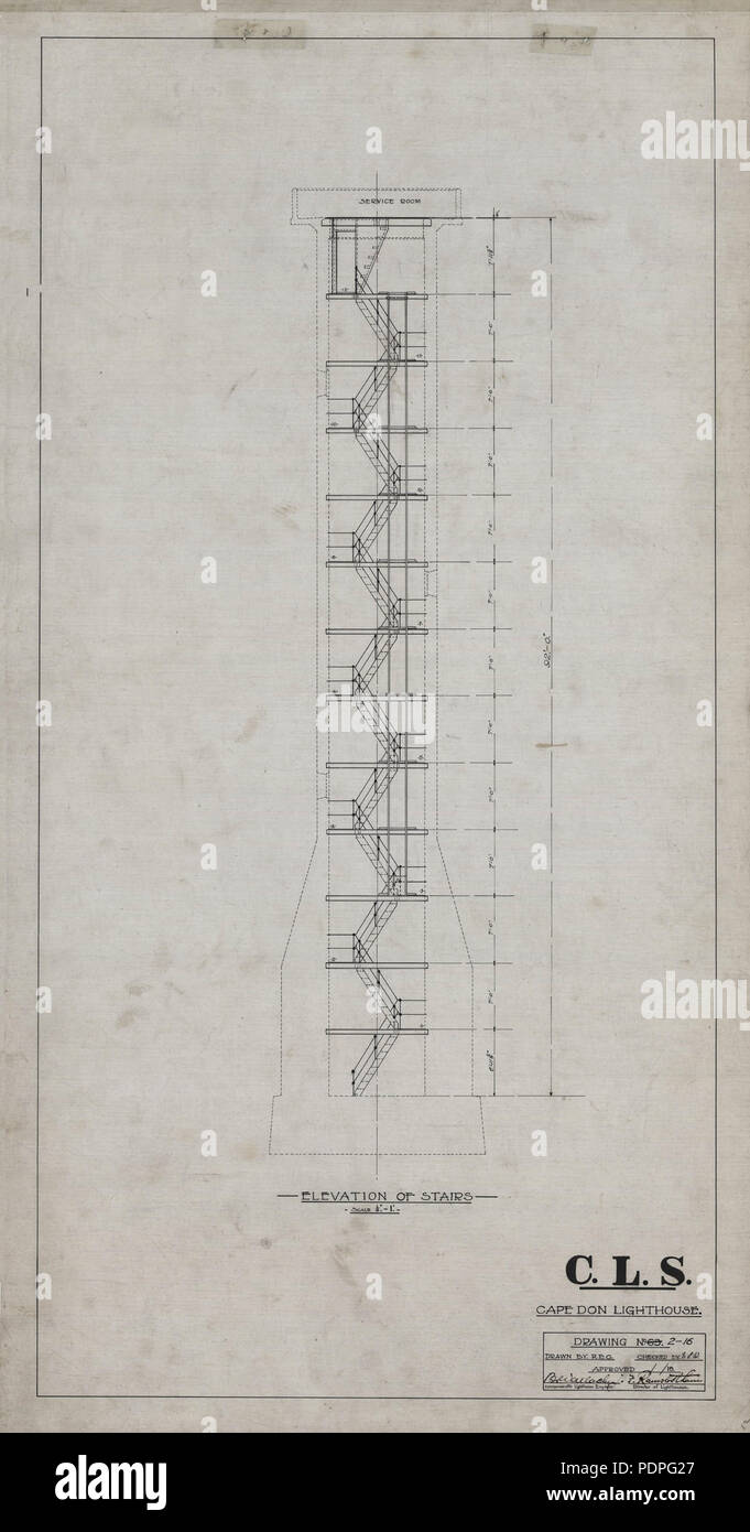 30 Cape Don Light - Plans - Stairs elevation, 1915 Stock Photo
