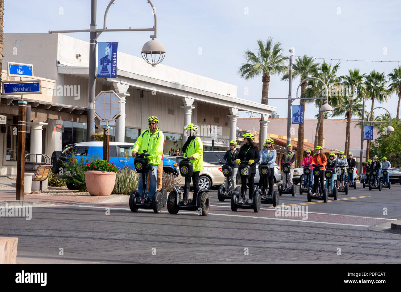 Scottsdale,AZ/USA -1.22.18: Segway 2-wheel,self-balancing transporter Invented by Dean Kamen and brought to market in 2001; Seen here Scottsdale Segwa Stock Photo