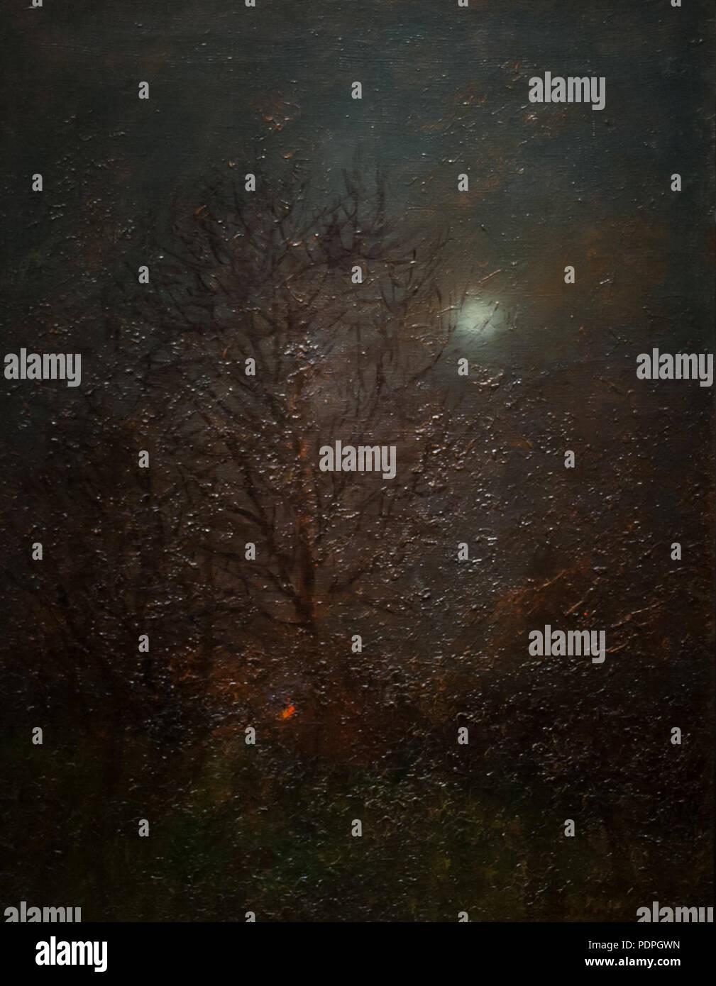 25 Moonshine - painting by László Mednyánszky - Stock Image