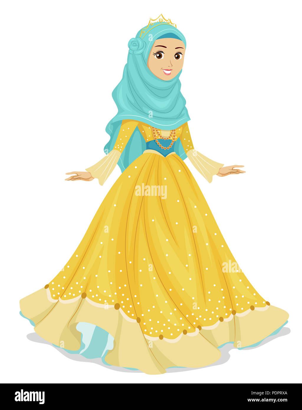 Cartoon Illustration Young Arab Lady Stock S & Cartoon