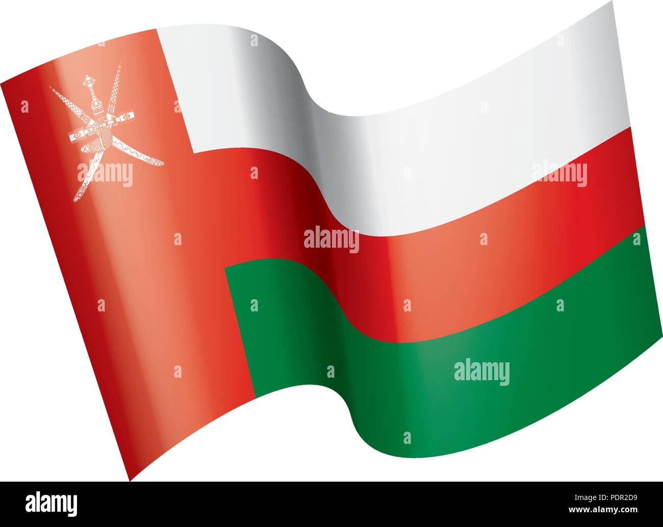 Oman flag, vector illustration on a white background - Stock Image