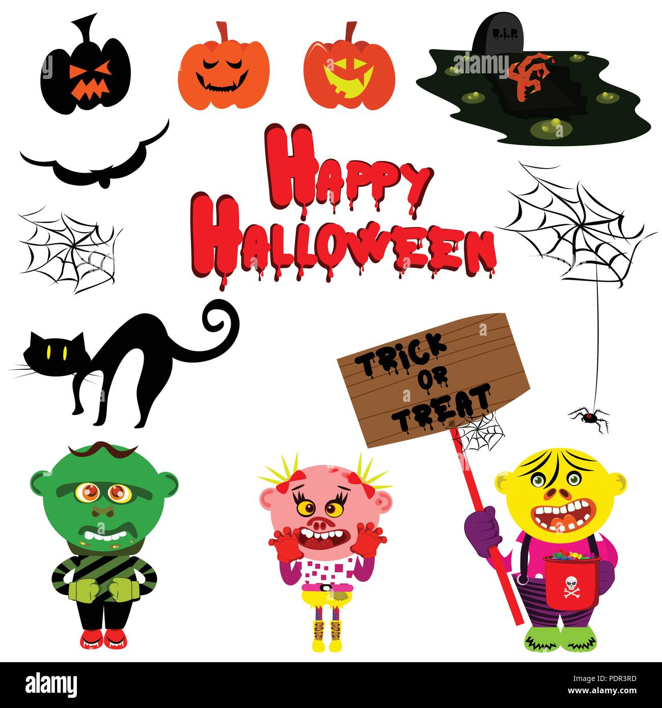 Vector set for Halloween in cartoon style. Illustration of characters and icons on white background. Kids in costumes, pumpkins and other traditional  - Stock Vector