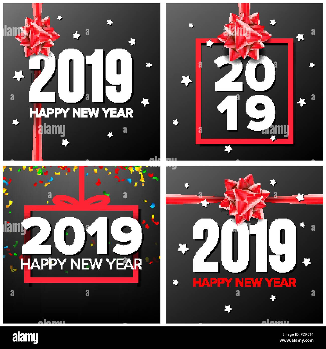2019 happy new year background set vector numbers 2019 sign confetti red bow modern christmas brochure seasonal flyer holiday new year celebration