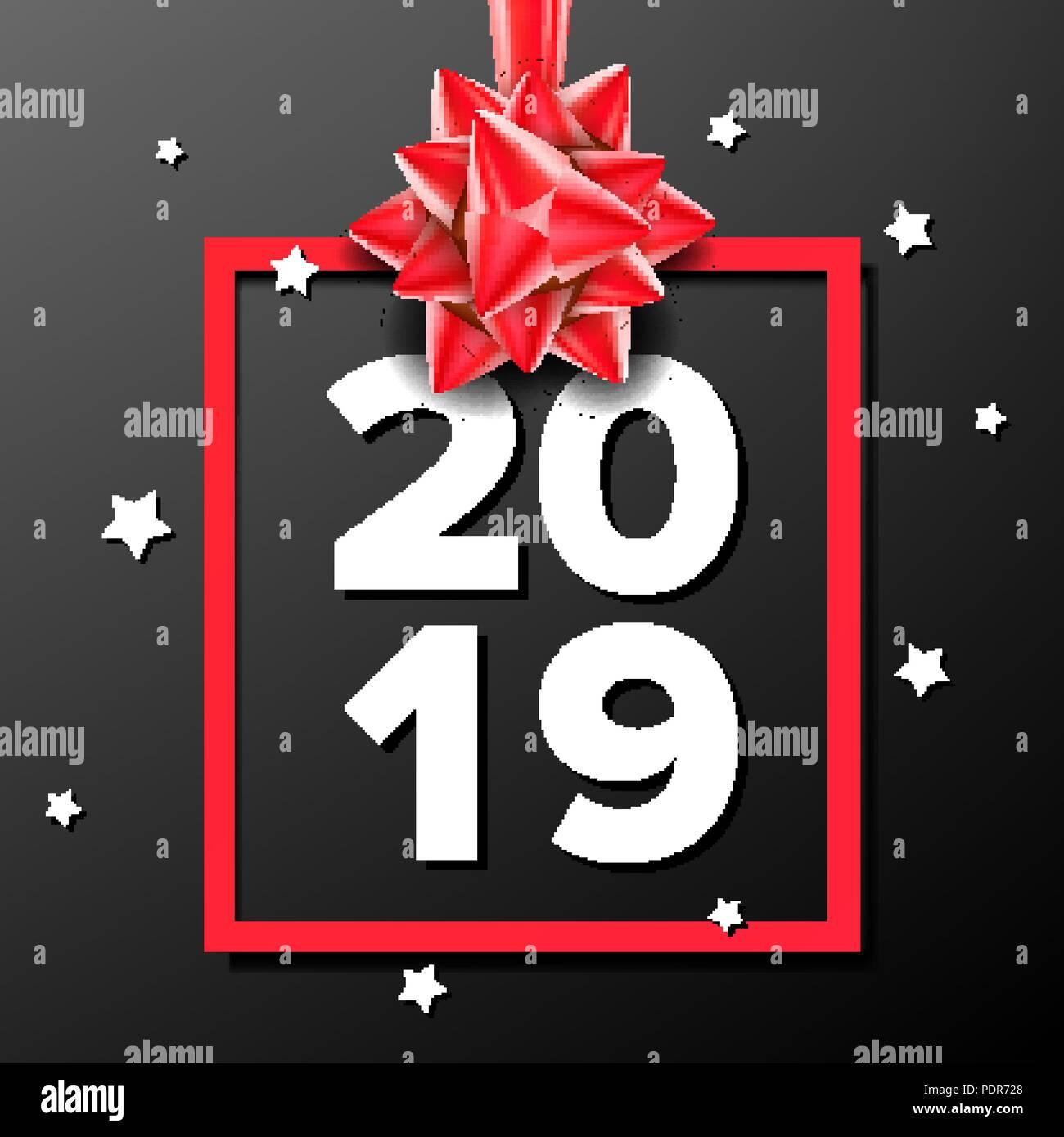 2019 happy new year background vector sign 2019 modern christmas brochure seasonal flyer black red illustration
