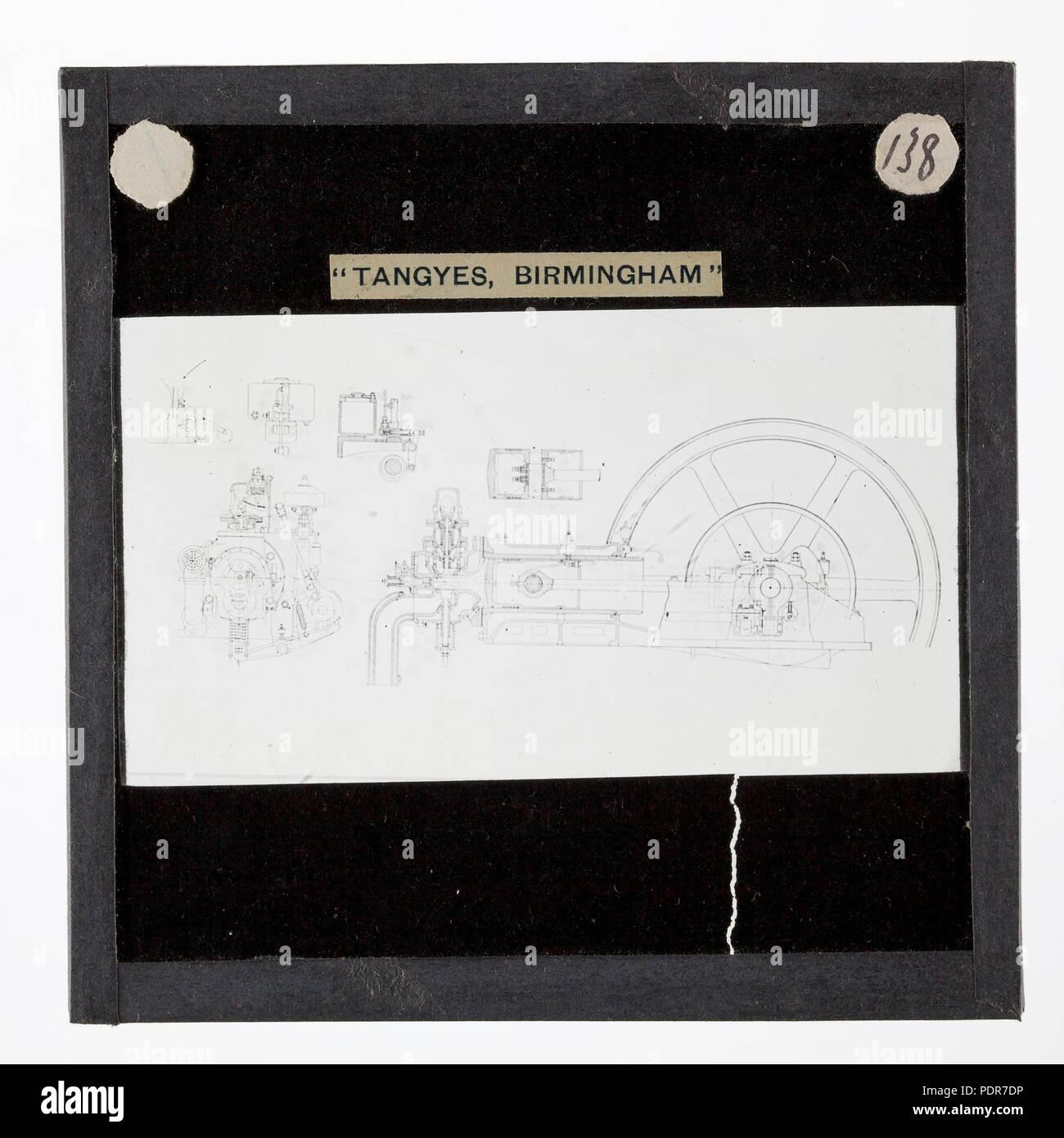 77 lantern slide - tangyes ltd, gas engine diagram, circa 1910