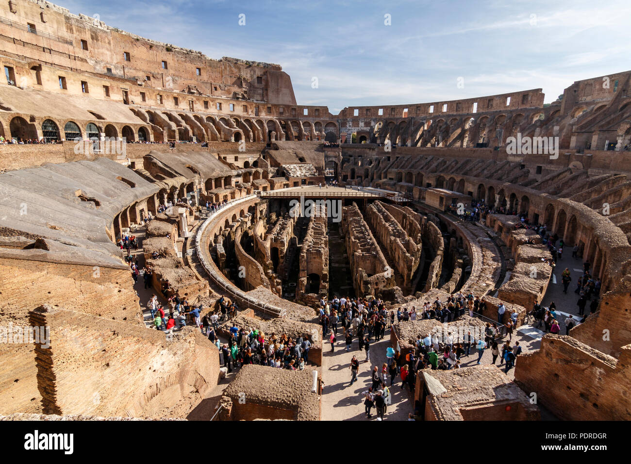 Interior view of the Coliseum of Rome, Italy. UNESCO World Heritage Site. - Stock Image