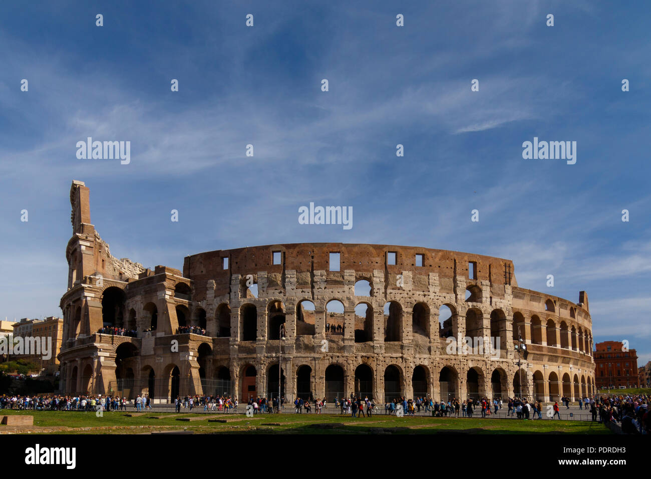 Colosseum of Rome at daylight, UNESCO World Heritage Site Rome, Rome, Italy Stock Photo