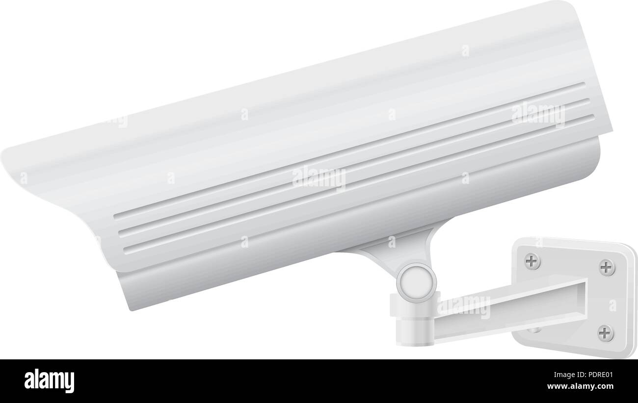 CCTV security camera. Side view. White surveillance system - Stock Vector