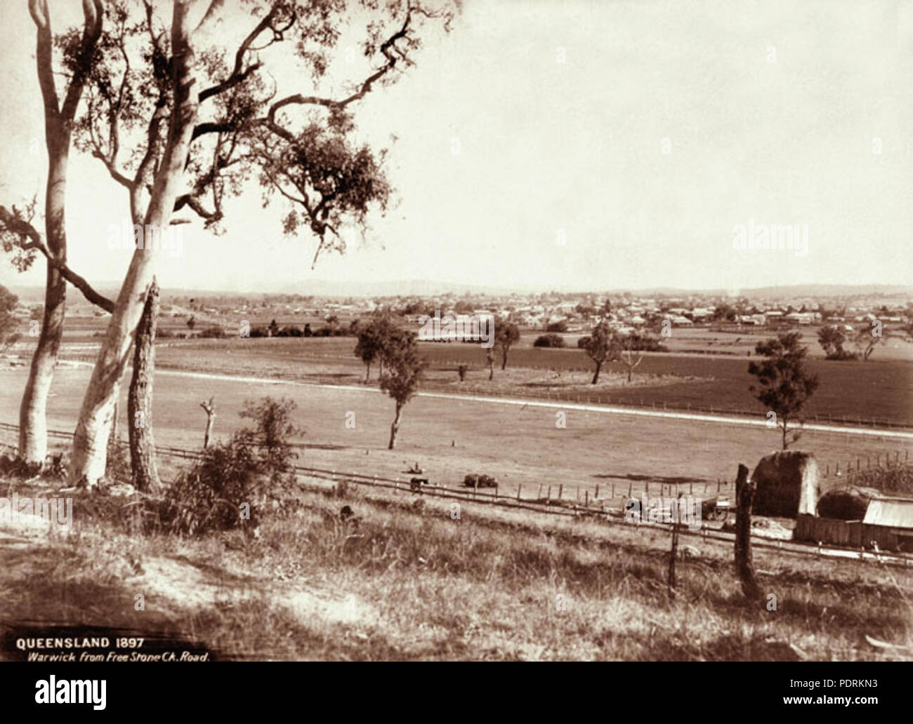 106 Queensland State Archives 2331 View of Warwick from Freestone Creek  Road 1897