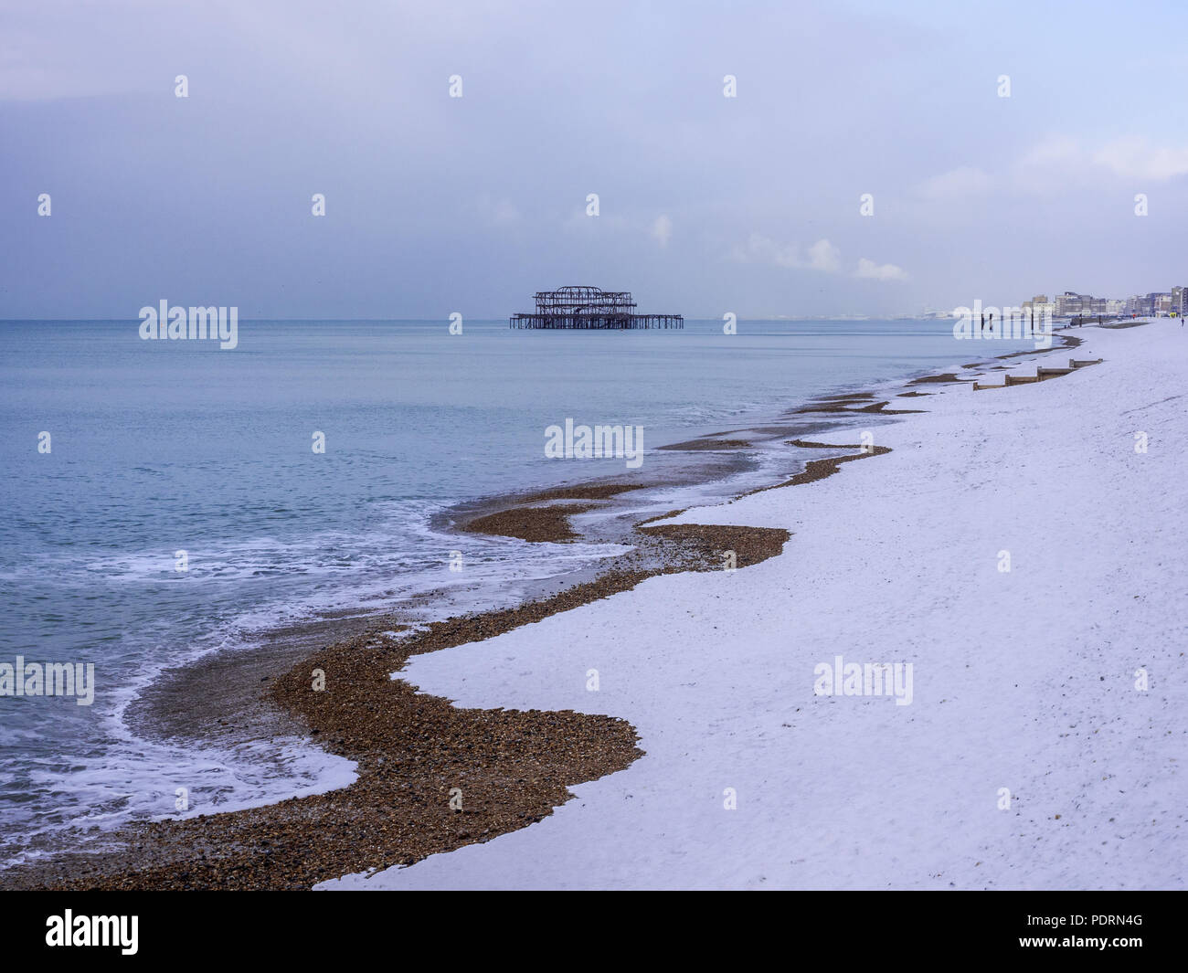 West Pier in the snow - Stock Image