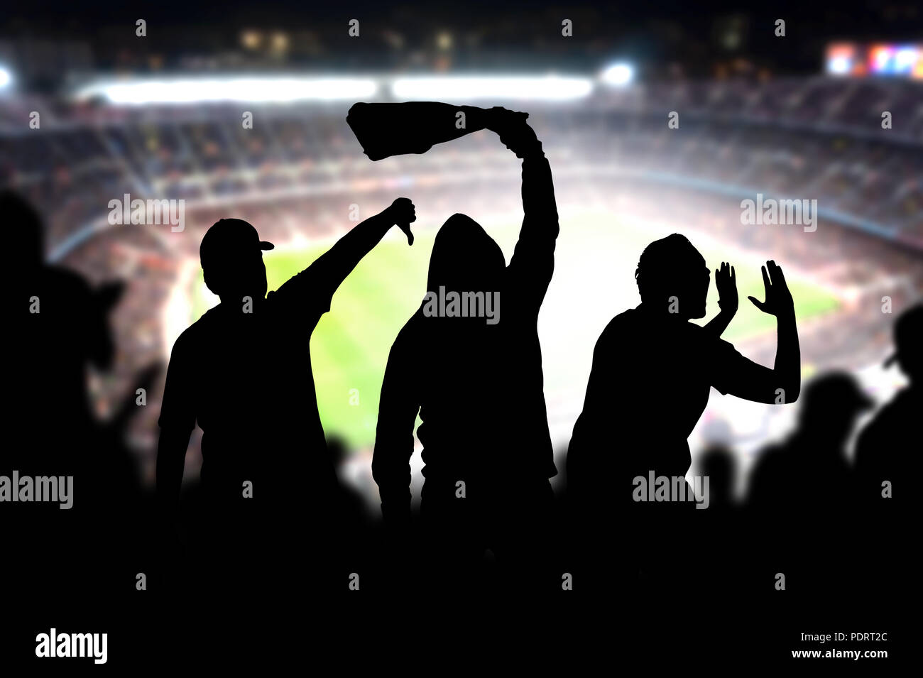 Football hooligans in game. Angry soccer fans shouting and booing in the crowd. Losing team fans got mad. Furious silhouette people complain. Stock Photo