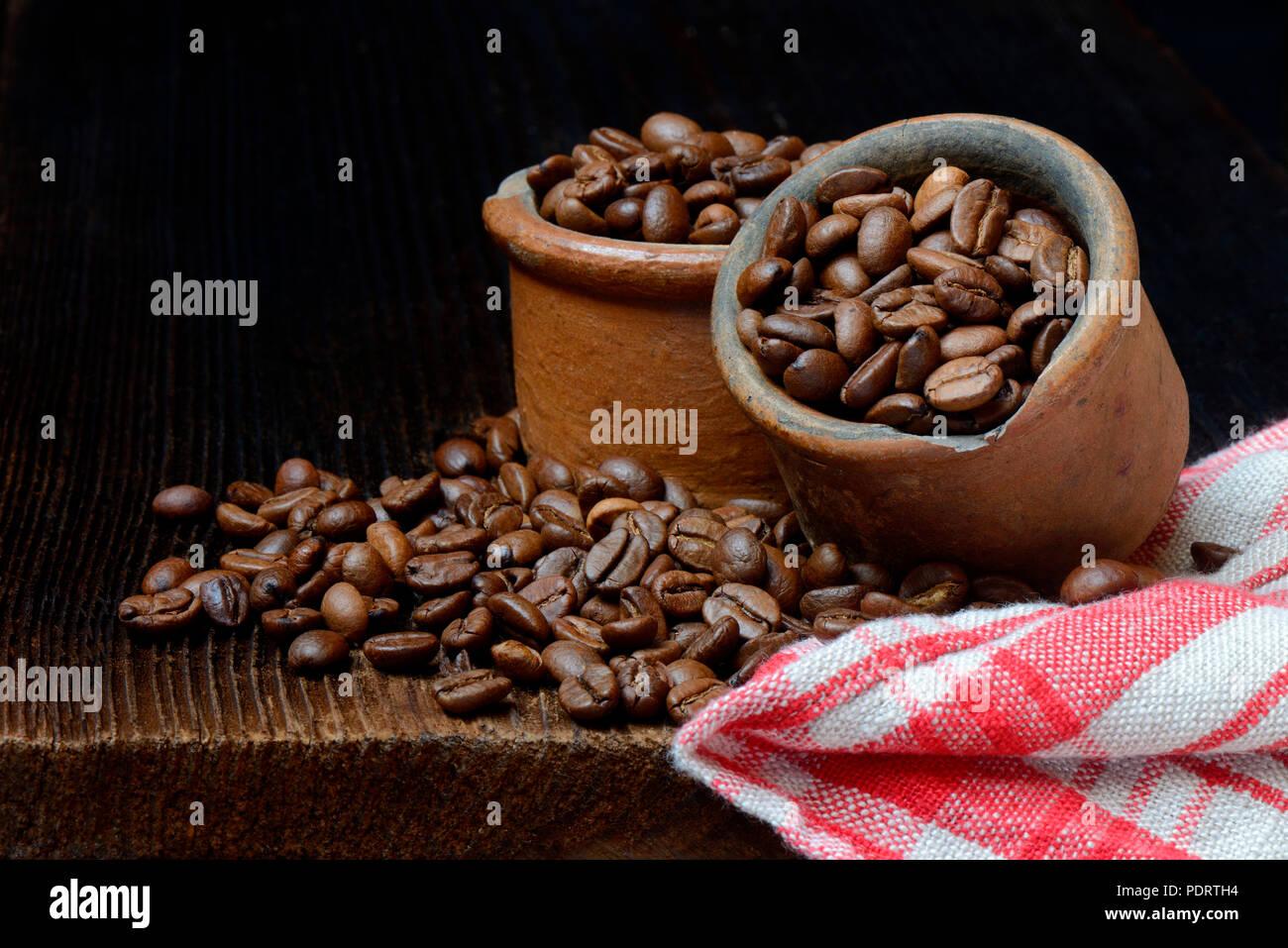 Kaffeebohnen in Keramiktoepfen, Coffea arabica, Arabica-Kaffee - Stock Image