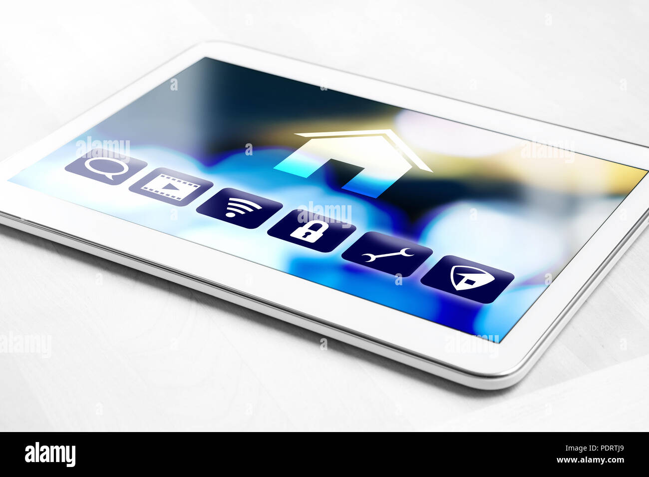 Tablet With Smart Home Control System For House Appliances Remote Controller App On Smart Device Modern Futuristic Internet Of Things Iot Stock Photo Alamy