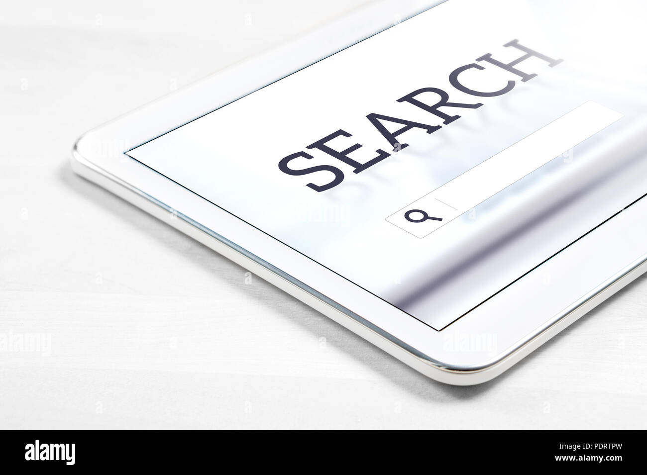 Search engine app on tablet screen. Application to find website or service with smart mobile device. - Stock Image