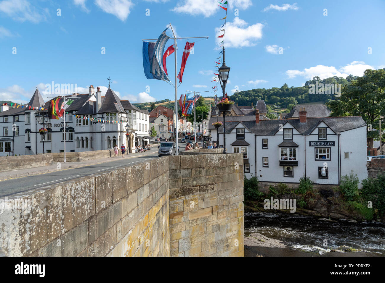 Llangollen, Denbighshire, North Wales, UK. A popular tourist attraction which stands on the River Dee. - Stock Image