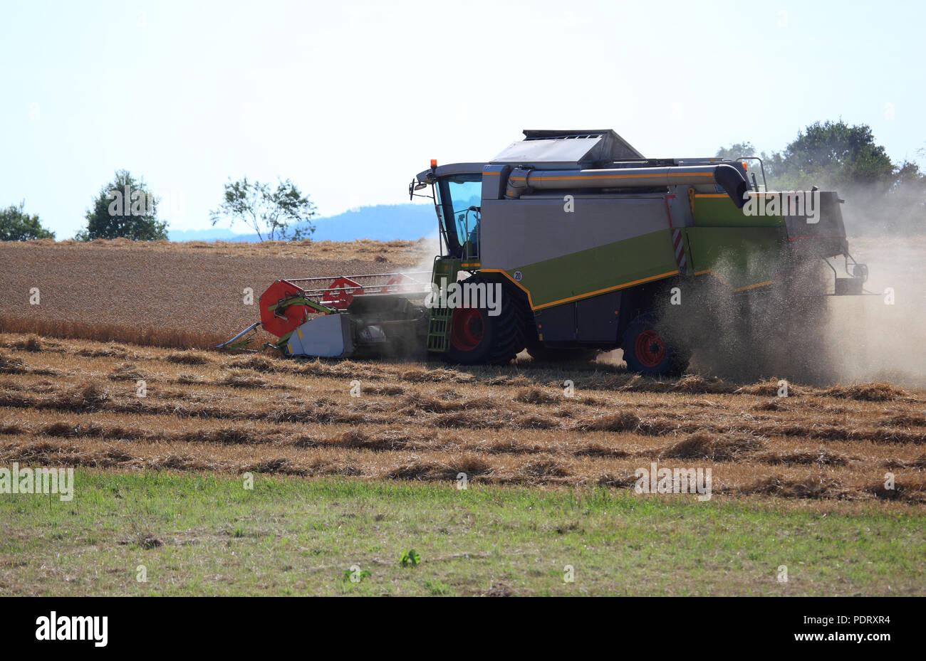 Mähdrescher bei der Weizenernte auf einem trockenen staubigen Feld Stock Photo