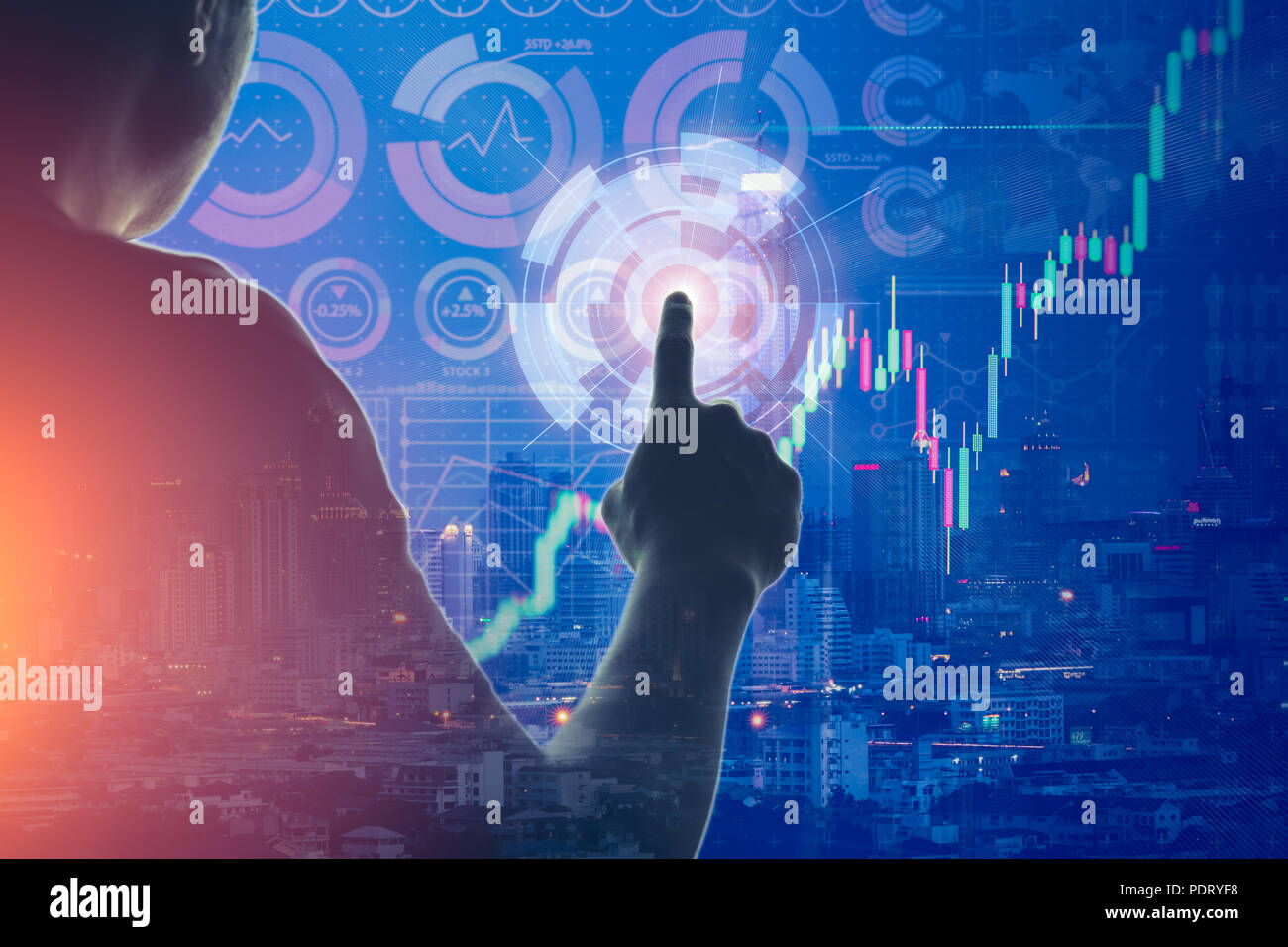 businessman touching select digital panel overlay with modern city for data technology communication concept - Stock Image