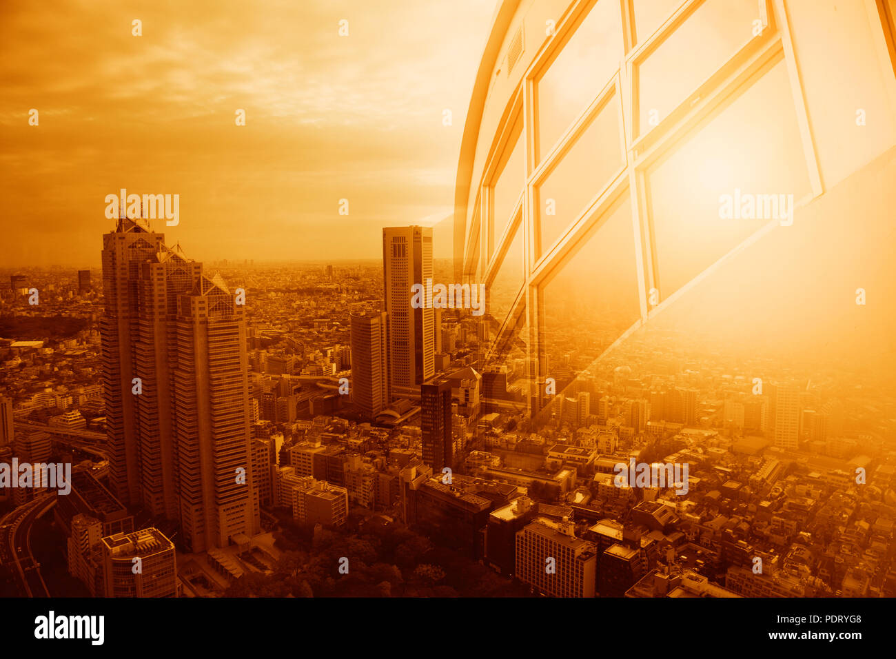 Office building windows and city view in heatwave summer season high temperature from global warming effect - Stock Image